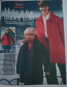 January 1996 Prima Adult Child Easy Cosy Jacket Sewing Pattern Multi-Size UNCUT