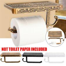 Retro Bathroom Roll Tissue Rack Toilet Paper Phone Holder with Storage Shelf
