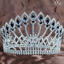 "Stunning 5"" Crown Full Round Tiara Blue Rhinestones Crystal Pageant Party Prom"