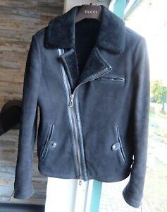 TOM FORD LEDERJACKE L 50 leather jacket biker sherling black fur