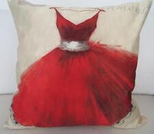 Fashionista Vintage Glamour Red Dress Faux Silk Cushion Cover 45cm Home Decor