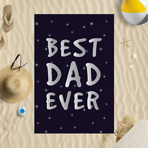 """58x39"""" Fathers Day Best Dad Ever Starry Night Microfibre Beach Towel Holiday"""