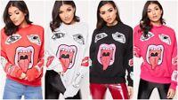 Womens Oversized Sweater Jumper Ladies Lips Print Winter Sweatshirt Pullover Top