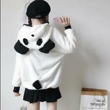 Women's Girls Cute Lolita Panda Hooded Fluffy Faux Fur Jacket Coat Outwear SKGB