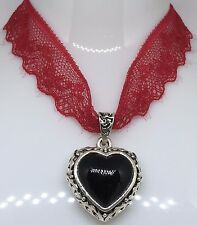 BLACK HEART Wine Lace Necklace - Ideal GOTHIC Gift - Vampire - HALLOWEEN