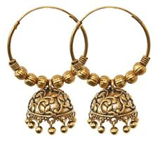 Traditional Oxidized Gold Hoop Indian Jhumka Jhumki Earrings Bollywood Jewelry