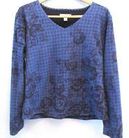 Coldwater Creek Womens Top Sweatshirt Size Medium 10 12 Blue Floral Print