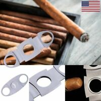 Silver Stainless Steel Pocket Cigar Cutter Knife Double Blades Scissor Shears HO
