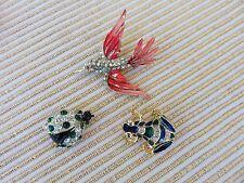 LOT OF THREE Vintage Ladybug & Frog AND Hummingbird Pin Brooch Rhinestone