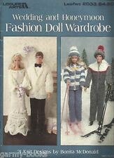 Wedding & Honeymoon Fashion Doll Wardrobe Knitting Patterns Clothing for Barbie