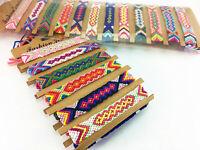 24pcs/lot Handmade Nepal Style Fashion Weave Rope Bracelet Colorful Flat Braided