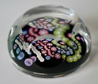 Spectacular WHITEFRIARS Vivid MILLEFIORI Art Glass PAPERWEIGHT Vintage Label On