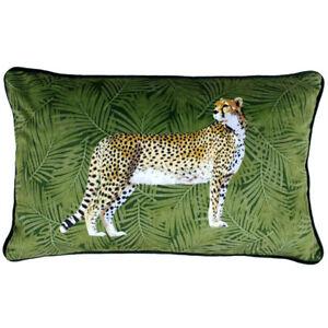 Riva Paoletti Cheetah Forest Faux Velvet Cushion Cover, Green, 30 x 50 Cm