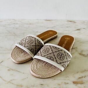 TORY BURCH Tan Brown Logo Print Fabric Slide Sandals Slippers - US 6.5