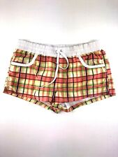 Make + Model Polyester Orange/Green Plaid Elastic Waist Shorts Size Medium