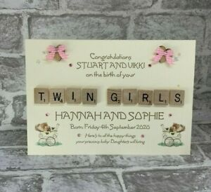"""Personalised Scrabble 6"""" or A5 Card Birth of Baby Boy Girl Twins Triplets Shower"""