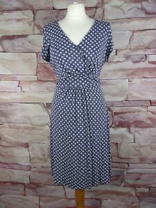 FAT FACE blue patterned stretch jersey dress tie waist size 14
