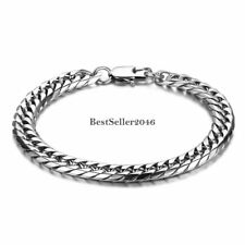 Silver Tone Polished Stainless Steel 8MM Flat Curb Link Chain Men's Bracelet 9""""