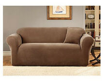 Sure Fit Sofa Slipcover Two Tone Pique 1 Piece Box Cushion Style Seat Brown/Tan