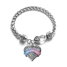 Inspired Silver Mom of An Angel Pave Heart Charm Bracelet