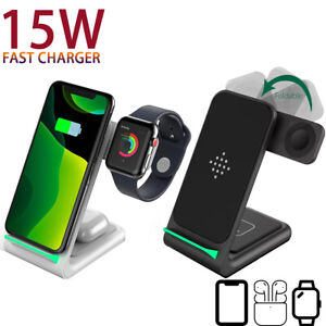 15W Fast Charge 3 In 1 Wireless Charger for iPhone 12/12 Pro/XS/S Watch 6/5 TWS