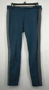 Under Armour Womens Blue Gray Elastic Waist Fitted Gym Yoga Pull On Leggings L