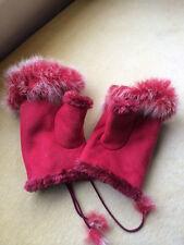 Designer Ladies Gloves Suede and Fur Pink Fingerless