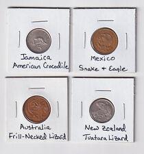 World Coins Featuring Reptiles: Tuatara, Frill-Neck Lizard, Snake, Crocodile