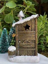 Miniature Dollhouse FAIRY GARDEN ~ Glitter Snow CHRISTMAS Outhouse w LED Light
