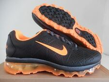 NIKE AIR MAX + 2011 LEA LEATHER BLACK-TOTAL ORANGE-DARK GREY SZ 10 [456325-080]