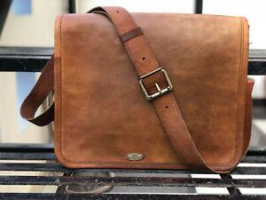 "16"" Women Vintage Brown Real Rustic Look Leather Messenger Cross Body Bag Purse"
