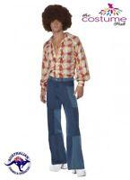 Mens 70s Retro Costume Flared Trousers Disco Shirt Fancy Dress Size M-L