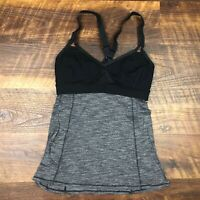 LULULEMON Breathe In Tank Top Heathered Black size 6 Yoga Gym Spin Cycle Fun