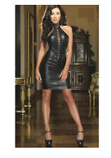 SEXY WET BLACK FIGURE SLIMMING MINI DRESS HIGH NECK LACE UP FRONT S/M DANCE F1