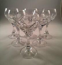Set of 6 Elegant Vintage Fine 7 oz.Thumbprint Cut Crystal Wine Glasses - MINT