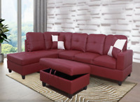 *SALE* Modern Red Sectional w/ Faux Leather Storage Ottoman & 2 Accent Pillows