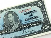 1937 Canada 5 Dollar Circulated UC Prefix Gordon Towers Banknote Five S916