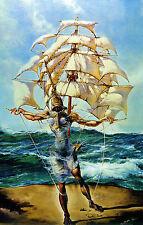 Lámina-Salvador Dali Hombre y barco en el océano Atlántico (Pintura Cuadro Poster)