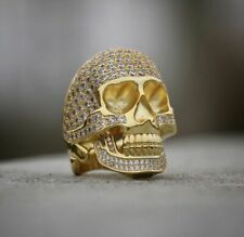 2Ct Brilliant Round Cut Diamond Skull Vintage Pinky Ring 14K Yellow Gold Over