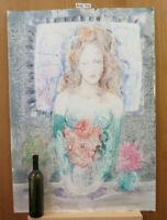 Akt Weiblich Popart Pop Bild Malerei Aquarell Blumen Floral Jahre '80 P35