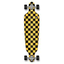 Yocaher Drop Through Longboard Complete - Checker Yellow