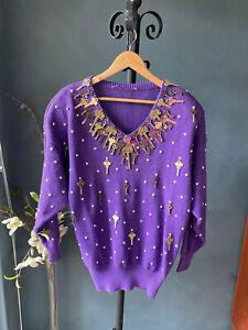 💜💜Bonnie Boerer Vintage Purple 80s SWEATER OF KEYS !!💜💜