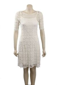 NEW Ralph Lauren Size S White Crochet Cotton Cocktail Dress -