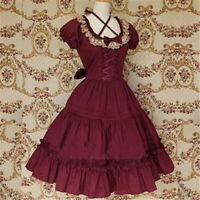 Vintage Gothic Victoria Lolita Bow Red Fancy Dress Cosplay Costume Custom Made