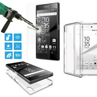 Tempered Glass Screen Protector Slim + Clear TPU Case Cover for Sony Xperia S003