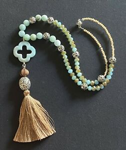 Amazonite Fleur De Lis Y Lariat Brown Tassel Amazonite necklace.