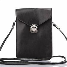 Black PU Leather Carry Pouch Wallet Cross-Body Case Bag for  iPhone 5/6s/7 Plus
