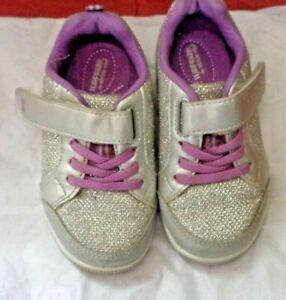 Surprize by Stride Rite metallic silver purple 7T girls sneaker shoes