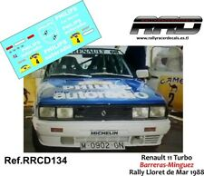 DECAL/CALCA 1/43; Renault 11 Turbo; Barreras-Minguez; Rally Lloret de Mar 1988