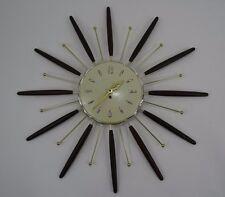 Mid Century Modern Starburst Sunburst Wall Clock 8 Day Key Wind